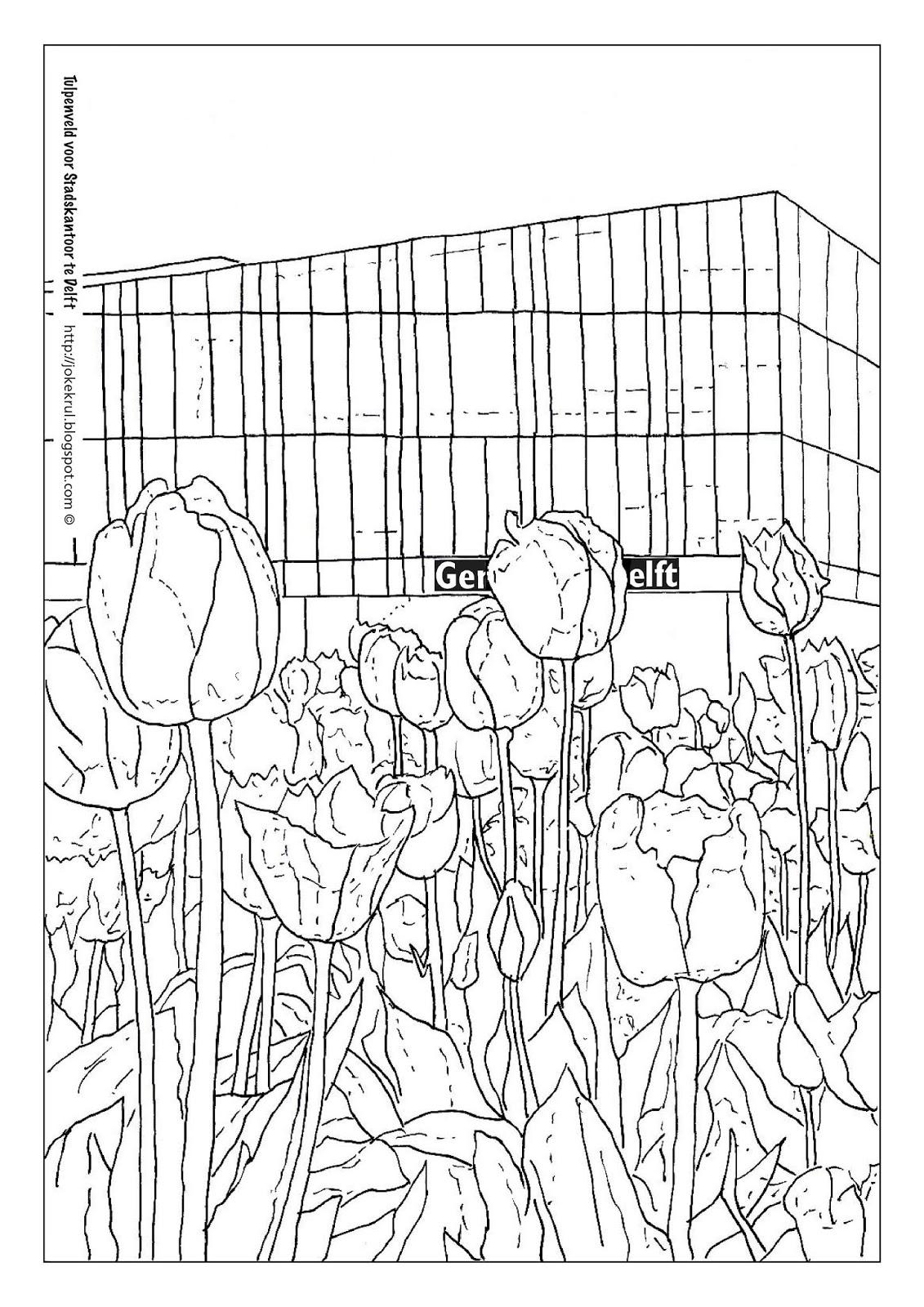 Kleurplaten Bloemen Tulpen.Kleurplaat Van Het Tulpenveld Delft Bloeit